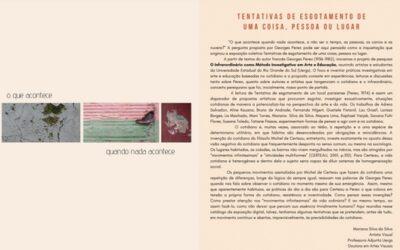 """Catálogo da infra-exposição """"Tentativas de esgotamento de uma coisa, pessoa ou lugar"""""""