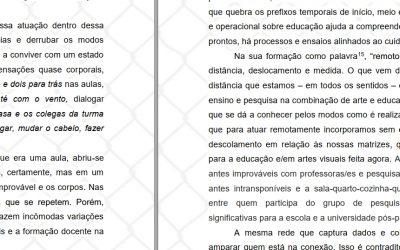 Publicações do Grupo Flume na Revista Fundarte: Poéticas do Isolamento: experiências em arte e educação em tempos de pandemia
